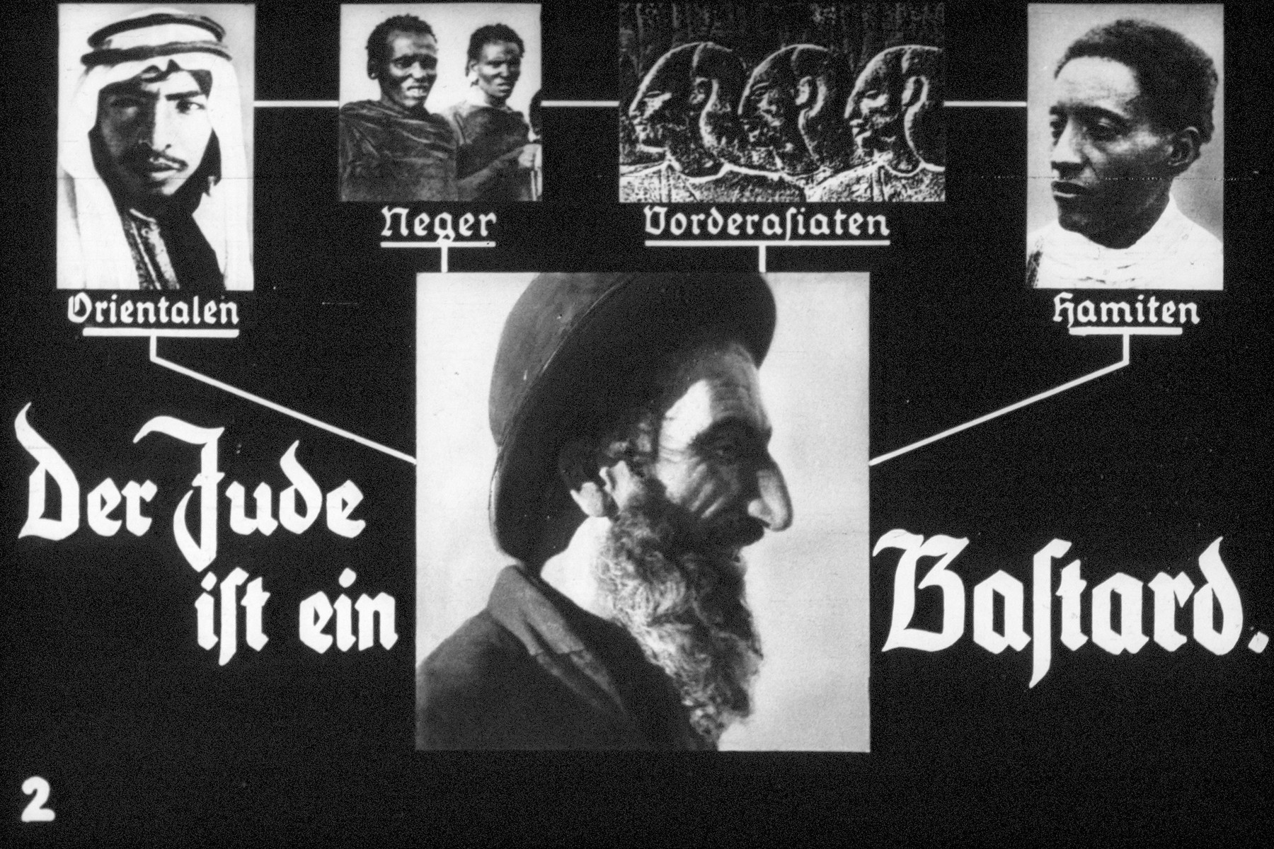 "2nd Nazi propaganda slide of a Hitler Youth educational presentation entitled ""Germany Overcomes Jewry.""  Der Jude ist ein Bastard. / The Jew is a bastard."