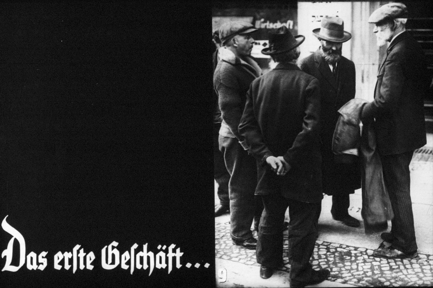 "9th Nazi propaganda slide of a Hitler Youth educational presentation entitled ""Germany Overcomes Jewry.""  Das erste Geschäft.. // The first shop .."
