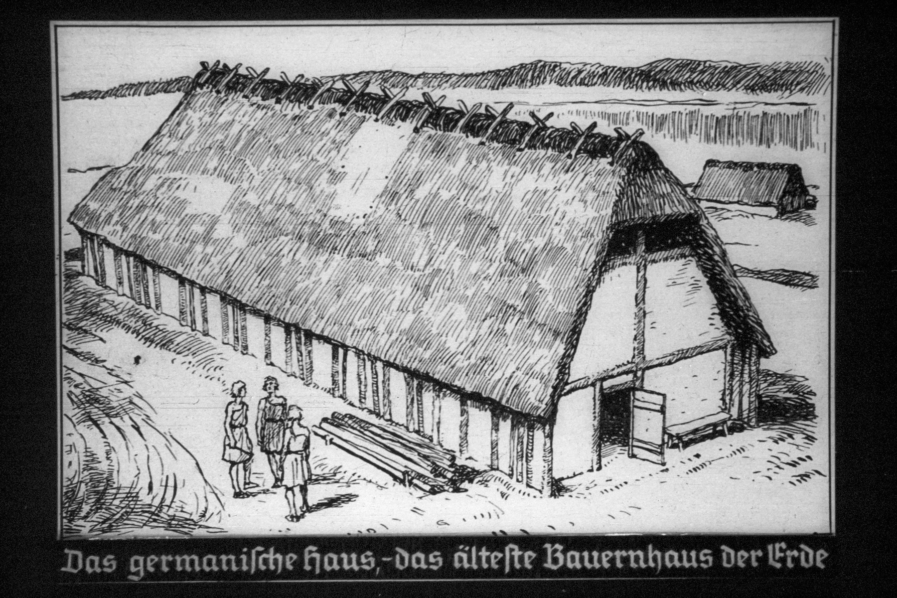 """8th Nazi propaganda slide for a Hitler Youth educational presentation entitled """"5000 years of German Culture.""""  Das germanische Haus-da // The Germanic-house is the oldest farmhouse of the Earth"""