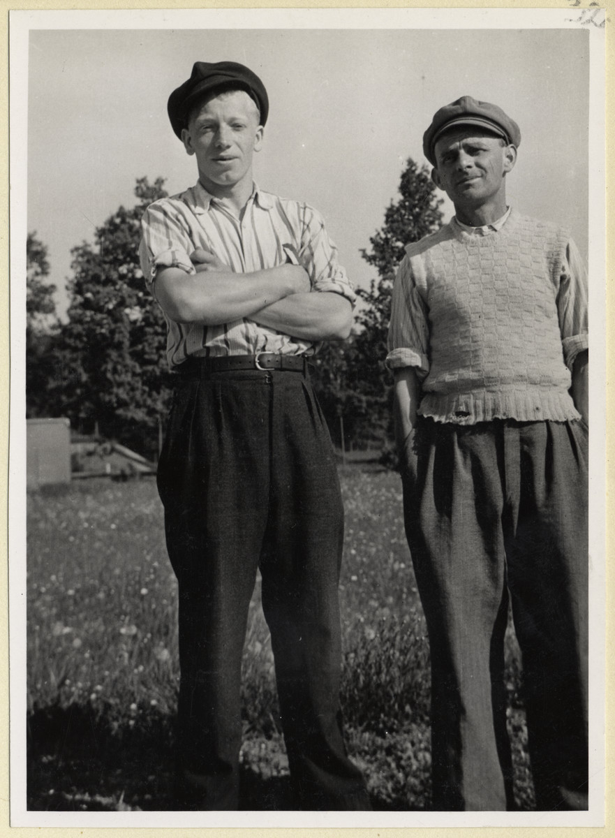 Portrait of two Czech political prisoners in the Dachau concentration camp.  The photograph was taken by Karel Kasak and developed by Maria Seidenberger.