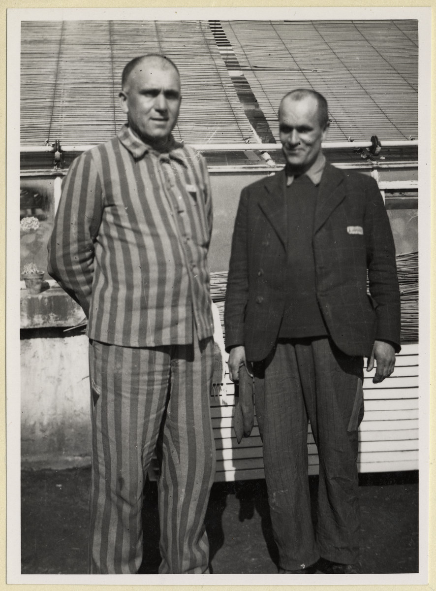 Two Czech political prisoners stand next to the greenhouse in the Dachau concentration camp.  Photograph was taken by Karel Kasak and developed by Maria Seidenberger.