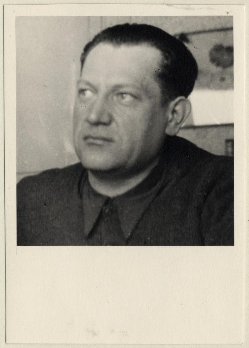 Close-up portrait of Mr. Ployhar, a Czech political prisoner.  Mr. Ployhar later became the Minister for Health in postwar Czechoslovakia.