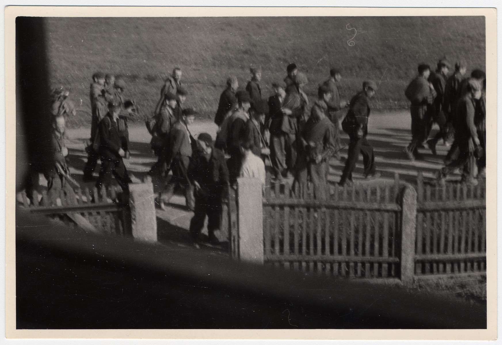 Clandestine photograph of prisoners marching to Dachau.  Maria Seidenberger took the photo from the second floor window of her family's home while her mother stood outside and gave potatoes to the prisoners.  A former Czech political prisoner, Karel Kasak is standing with his back to the camera, wearing a white shirt.  According to Kasak's diary the prisoners were coming from Nurnberg.
