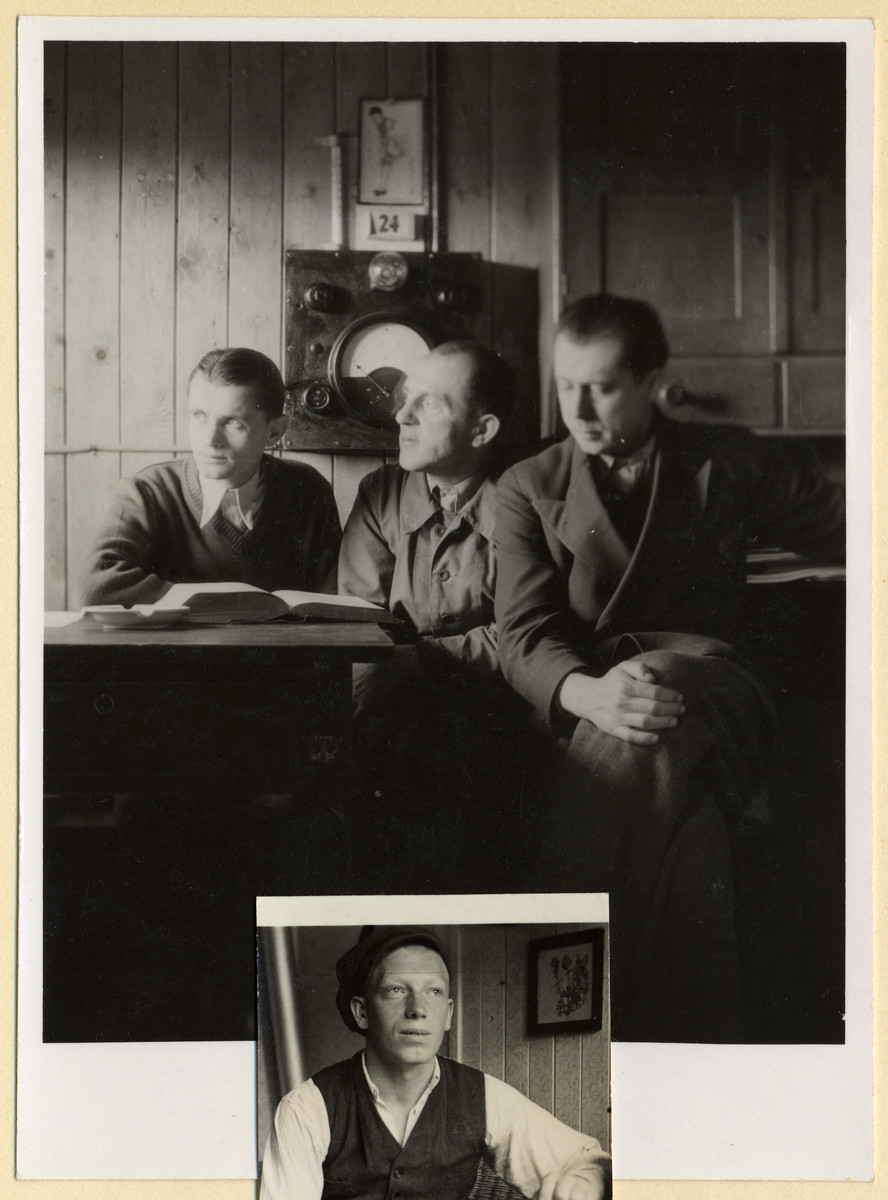 Portrait of three Czech political prisoners inside an office in the Dachau concentration camp.  [The head of a fourth prisoner from an overlapping photograph is seen below.]