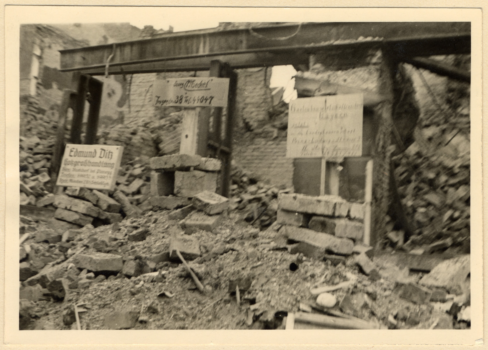 View of a bombed out street in Munich.  The photograph was taken by a colleague of Maria Seidenberger and developed by her in the photo lab where she worked.