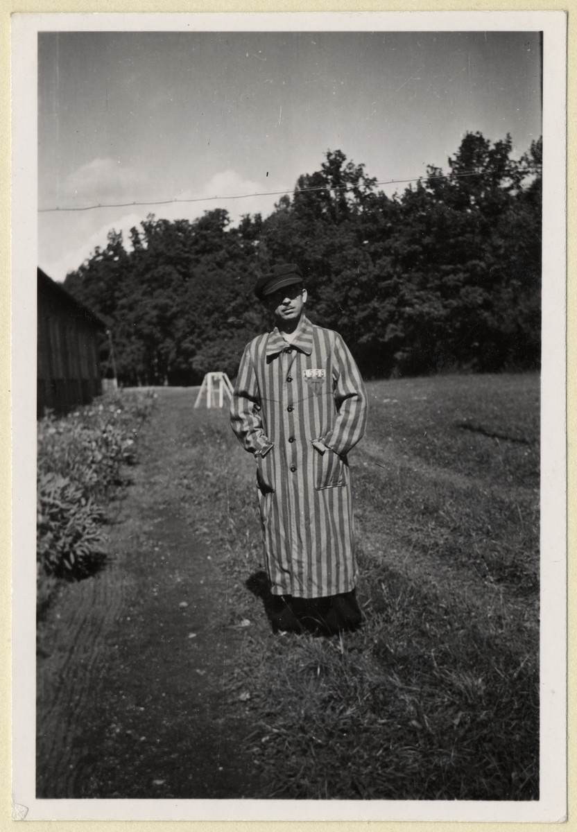 Portrait of a Czech political prisoner in the gardens of the Dachau concentration camp.  The photograph was taken by Karel Kasak and developed by Maria Seidenberger.