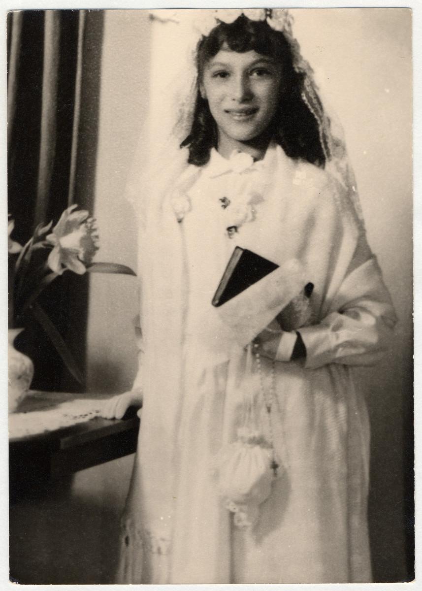 First Communion portrait of Rita Reinhardt Seibel (now Prigmore).