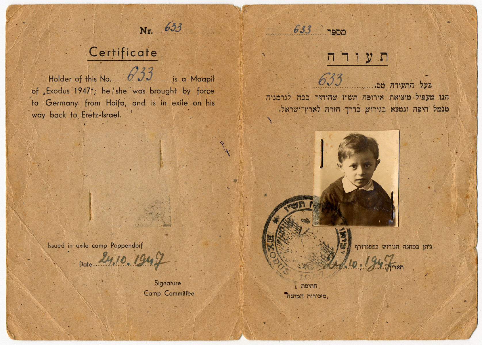 Identification card issued to three-year-old Mendel Goldband identifying him as having been a passenger on The Exodus.