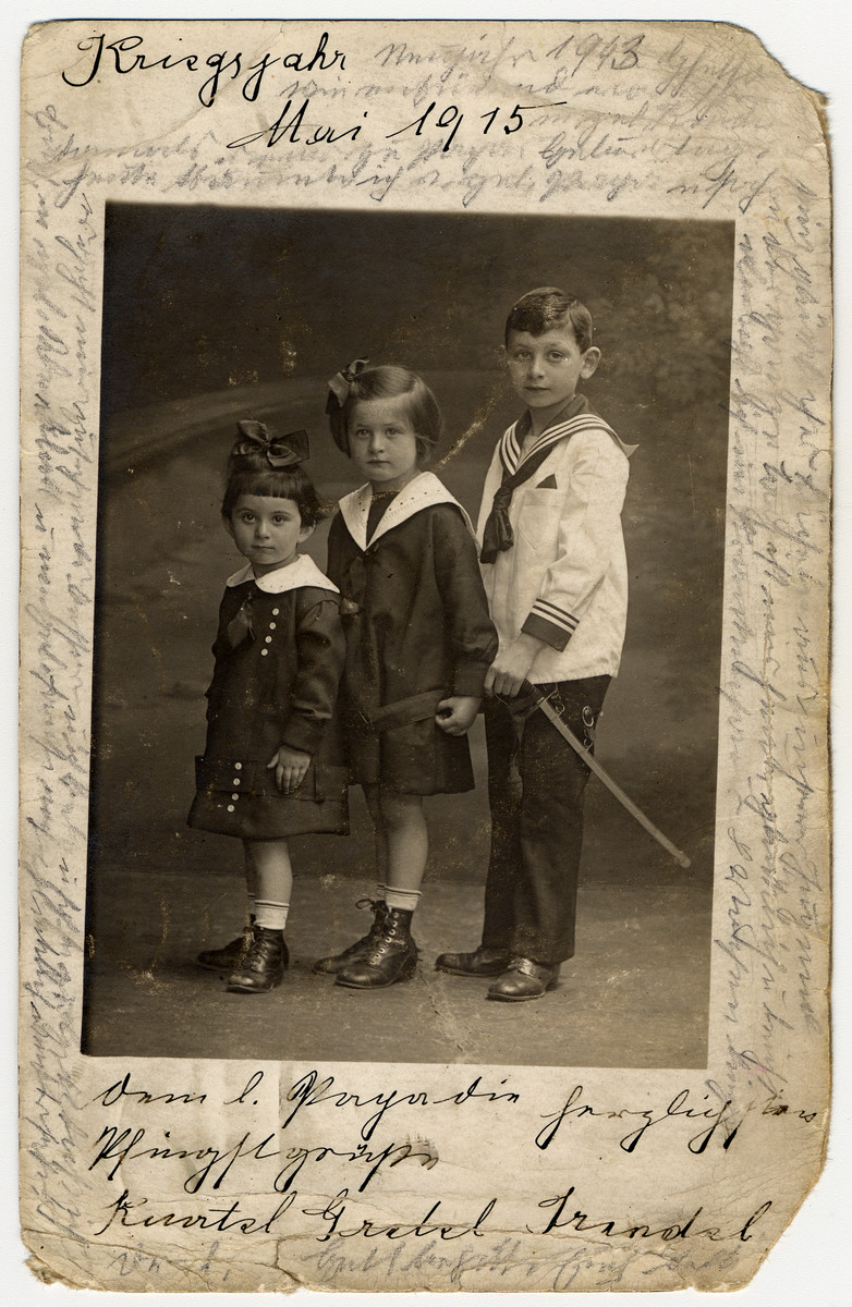 Photograph taken in May 1915 of Helene Reik's children.    The photograph was used by Helene Reik as paper for her diary in the Theresienstadt ghetto.