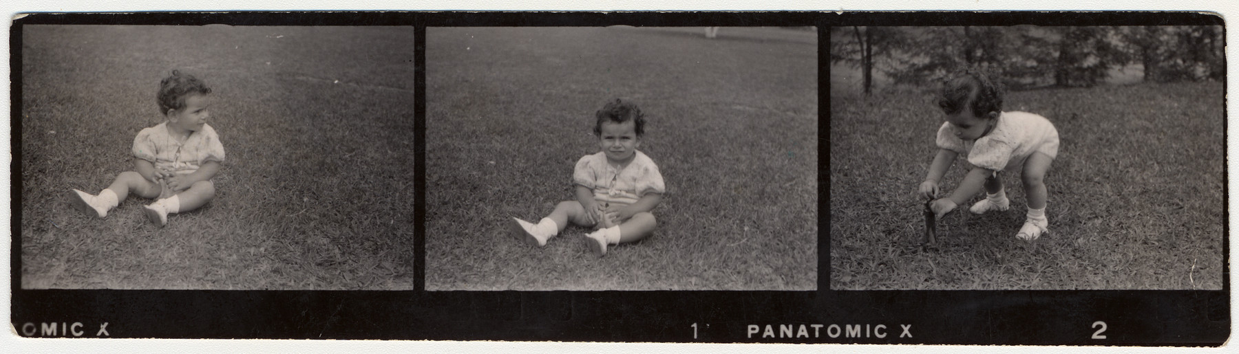 Contact strip representing Margarida Reik (now Margarida Lane Reik de Frankel), the granddaughter of Helene Reik, playing on a field in Teresopolis, Brazil, in April 1940.     The photograph was sent to Helene Reik who used the back as paper for her diary in the Theresienstadt ghetto.