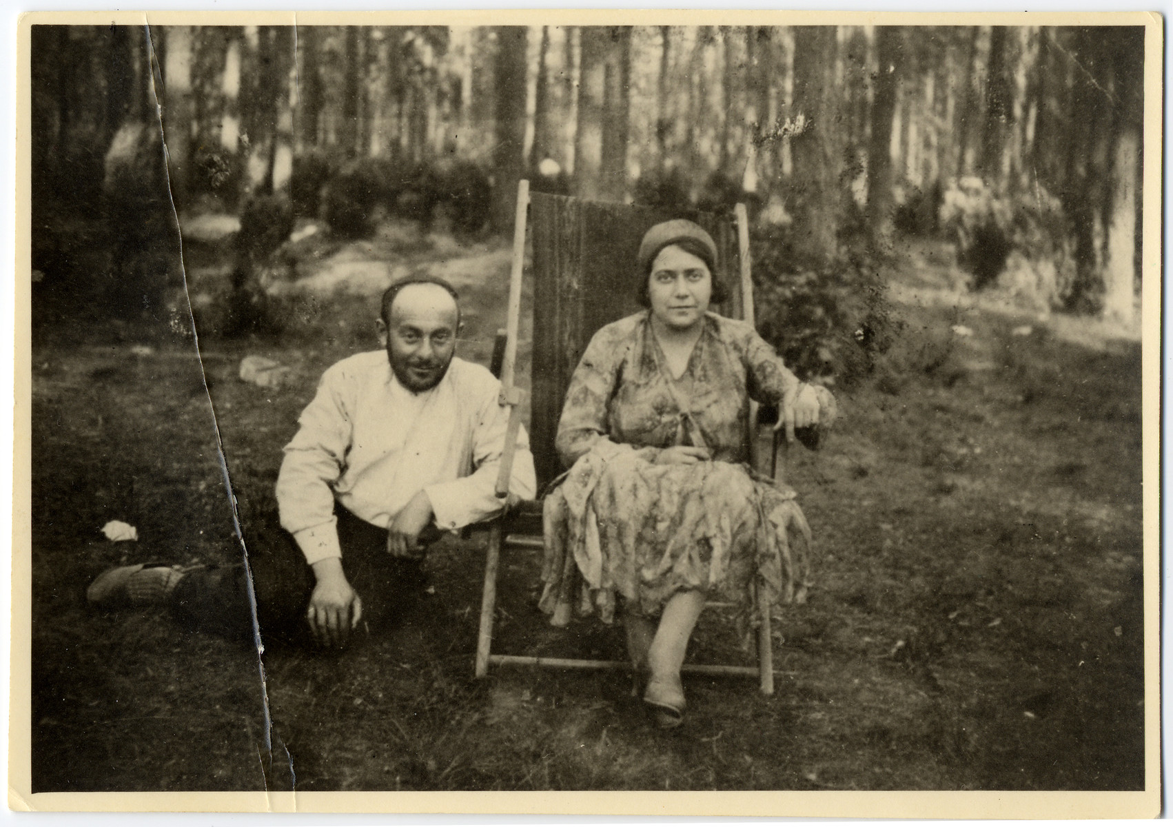 A Jewish couple poses for a photograph while on vacation in Wisniowa-Gora.   Pictured are donor's uncle and aunt, Mosze Fogel and Bela Domb Fogel.
