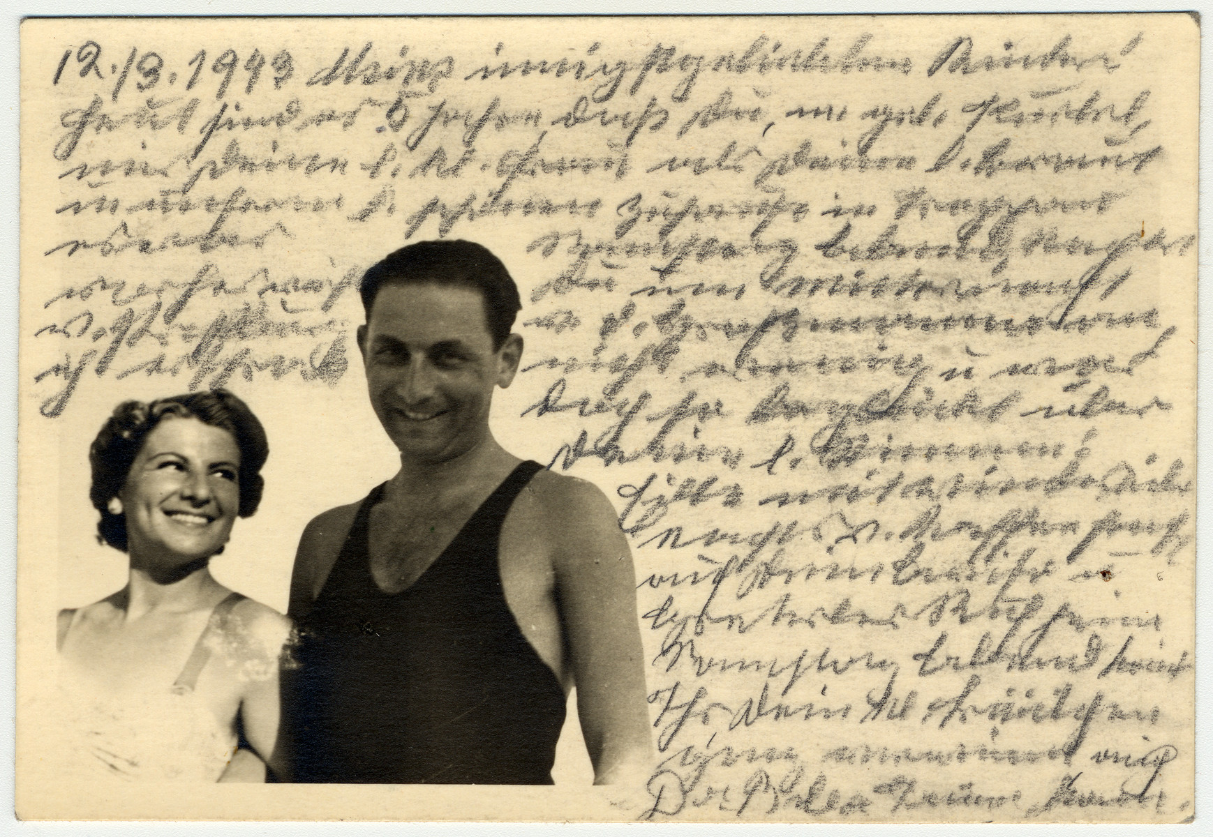 Photograph representing Kurt, Helene Reik's son, and his wife, on vacation in April/Mai 1938 in Kupari, Croatia.    The photograph was sent to Helene Reik who used it as paper for her diary in the Theresienstadt ghetto.