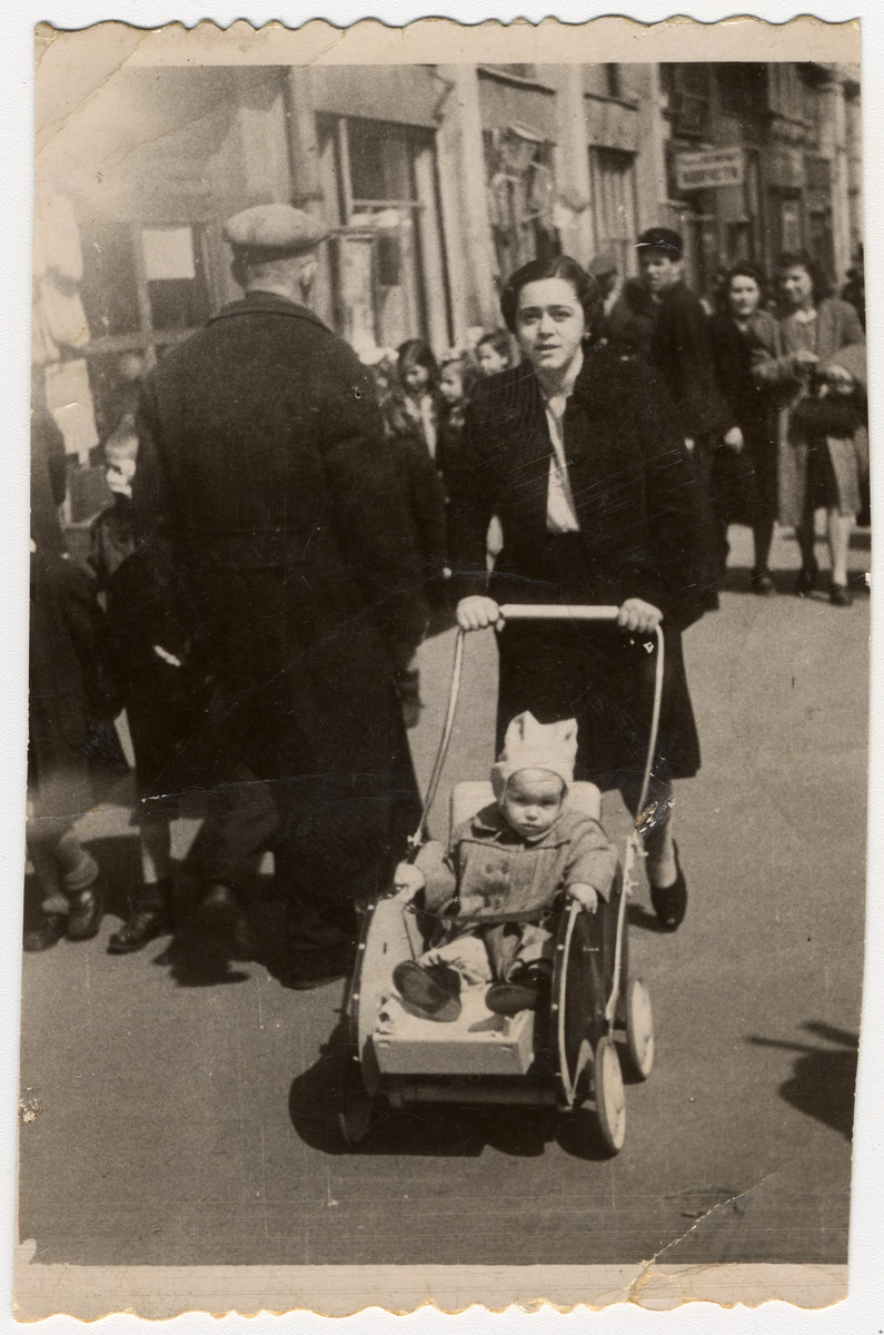 Victoria Avramoff pushes her daughter, Adela, down a street in Sofia, Bulgaria, shortly after the war.