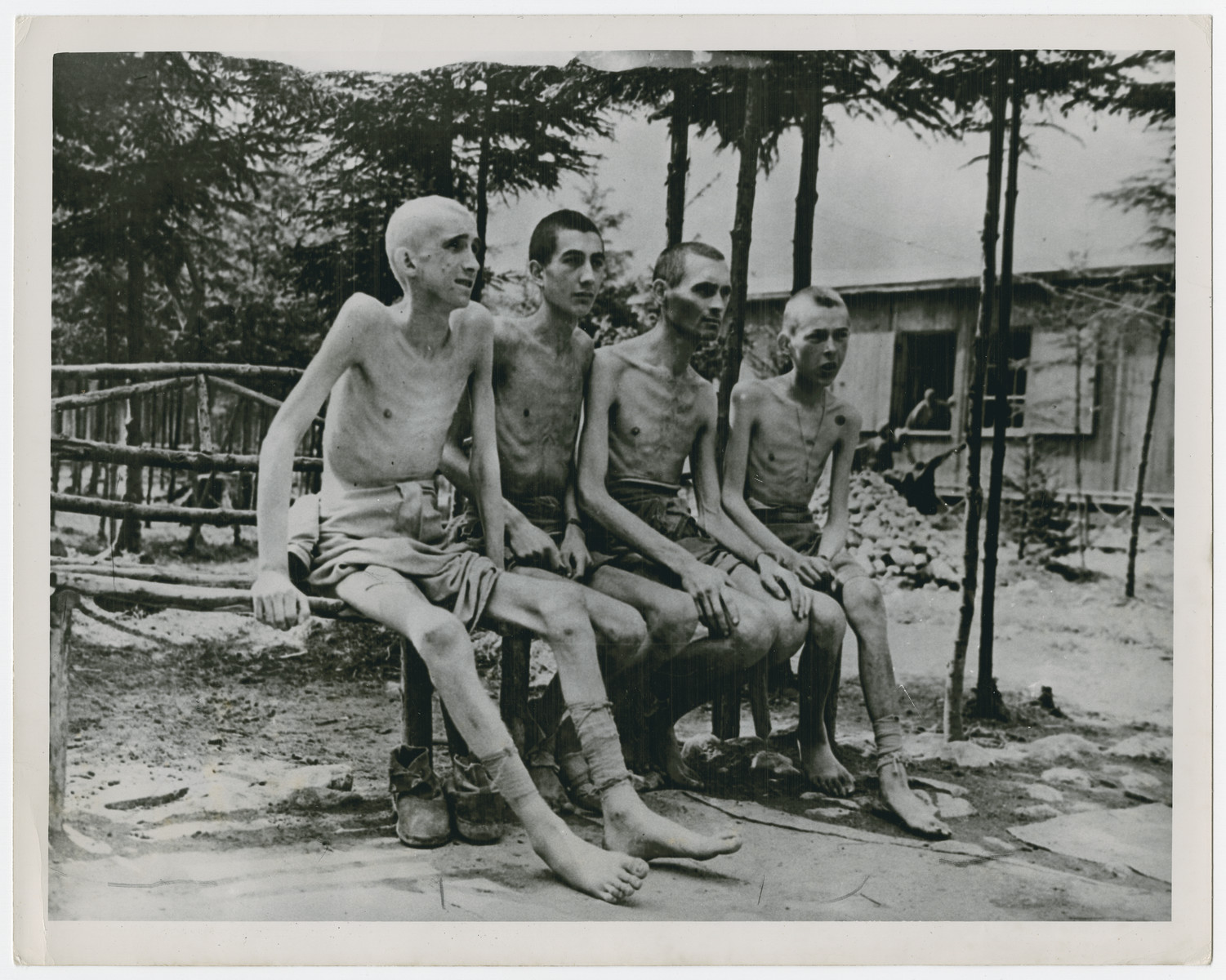 "Group portrait of emaciated survivors of the Ebensee concentration camp.  Original caption reads:  ""These living skeletons are young boys""."