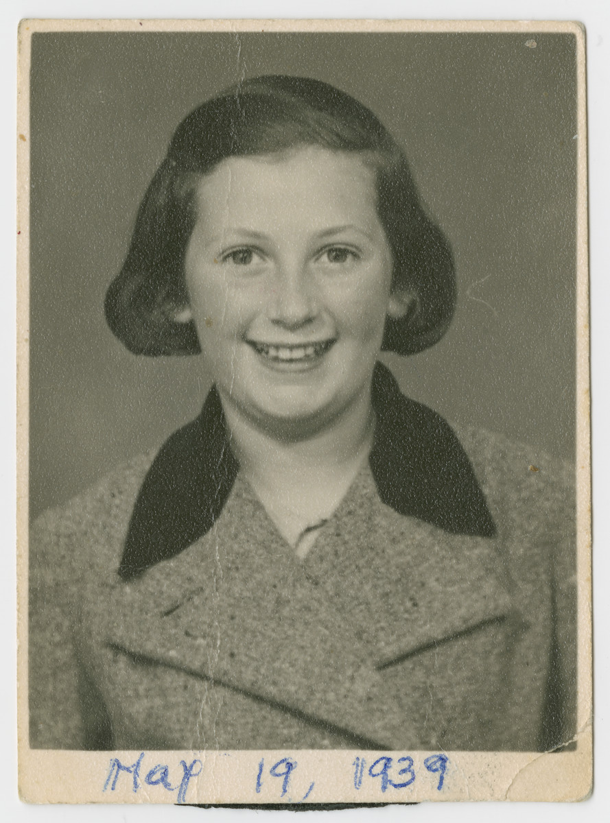 Studio portrait (possibly a passport photograph) of Ruth Taub.