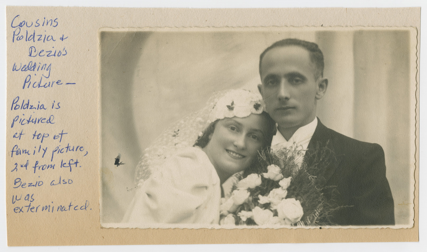 Wedding portrait of Poldzia and Dezio (cousins of the donor).  Both of them perished in the Holocaust.