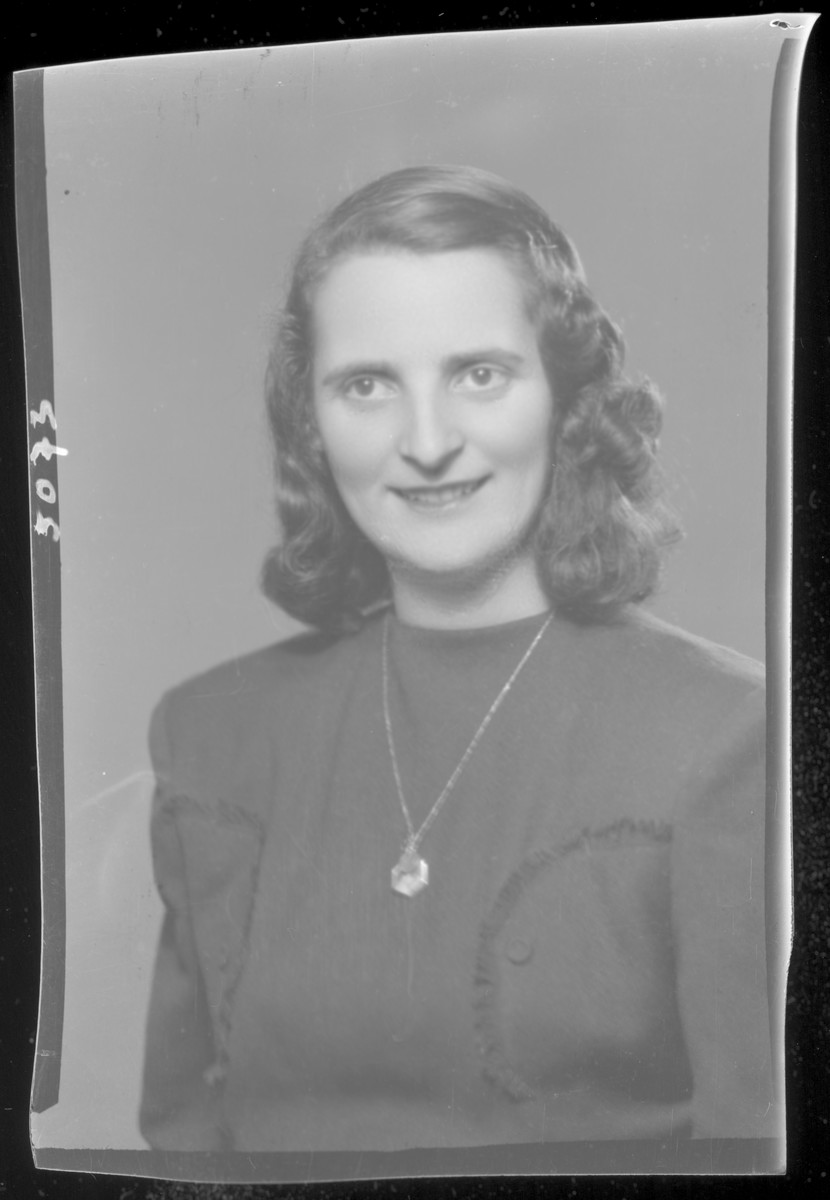Studio portrait of Miklosne Vertes, who owned a needlepoint store.  She perished in Auschwitz.