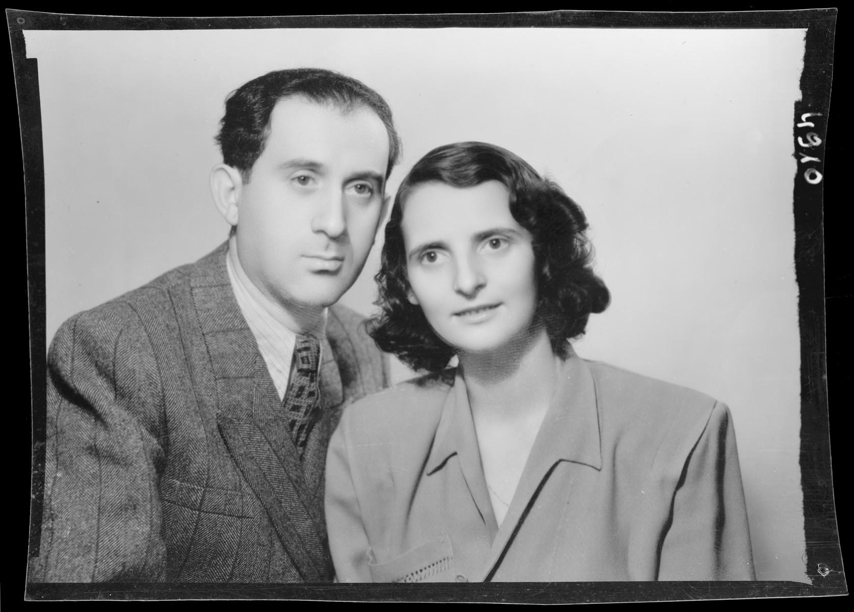 Studio portrait of Miklos Vertes and his wife.