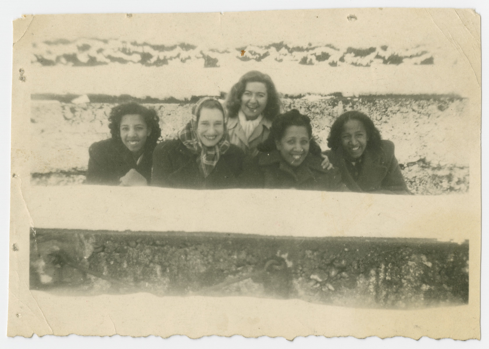 Group portrait of American women in the Liebenau internment camp.  Among those pictured are Marilyn, Ida and Jacqueline Johnson.