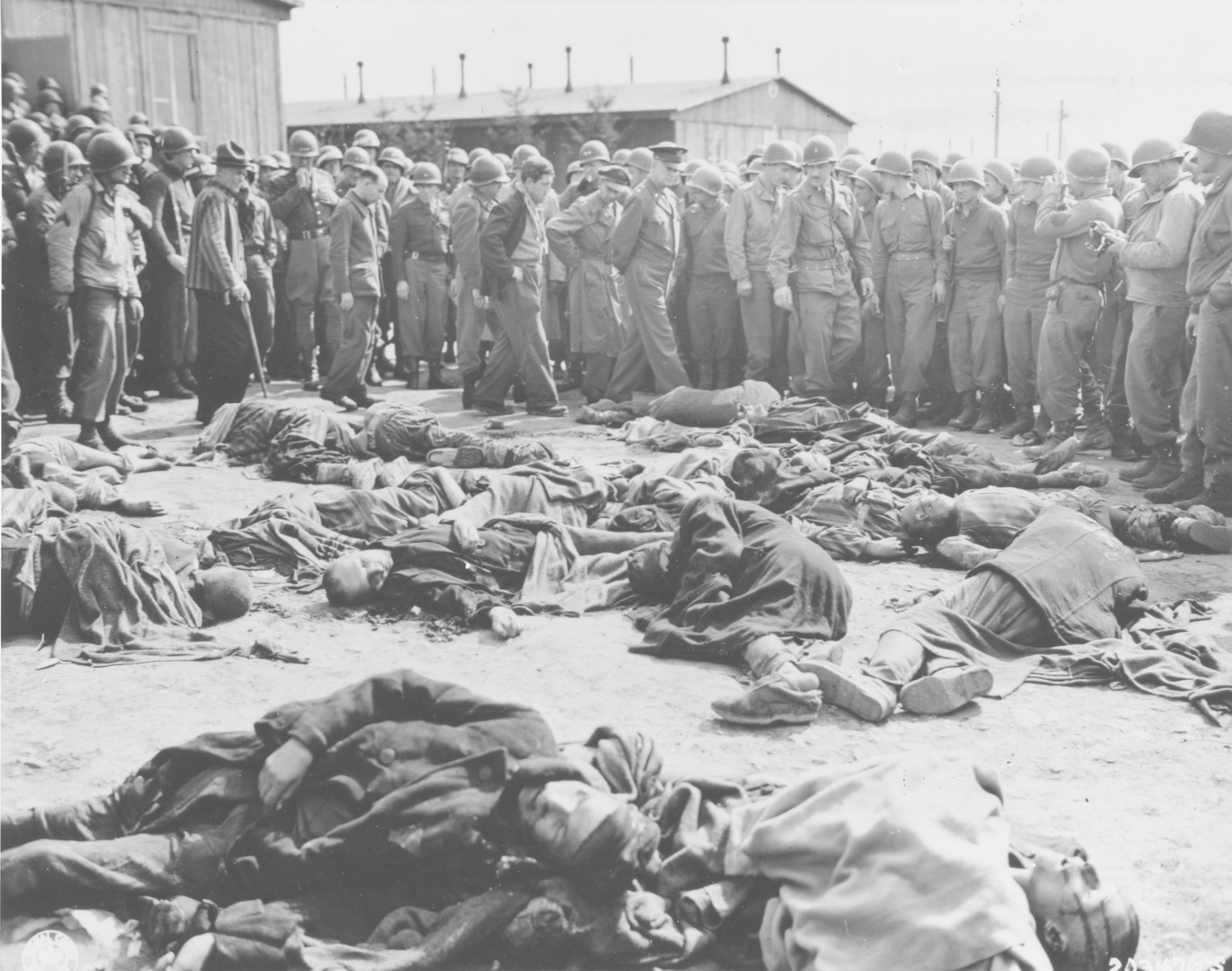 General Dwight Eisenhower and other high ranking U.S. Army officers view the bodies of prisoners who were killed during the evacuation of Ohrdruf, while on a tour of the newly liberated concentration camp.