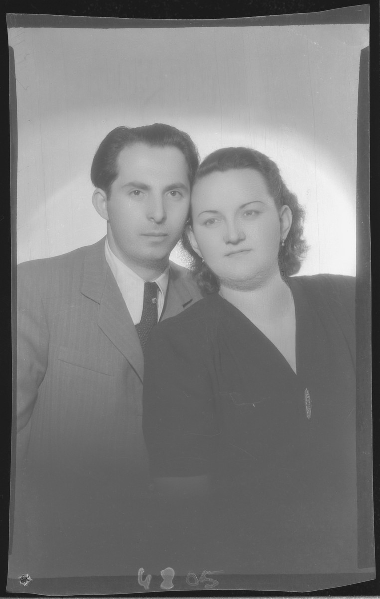 Studio portrait of Abraham (Bumi) Nussbacher and his wife.  He survived the Holocaust but she perished together with their child.