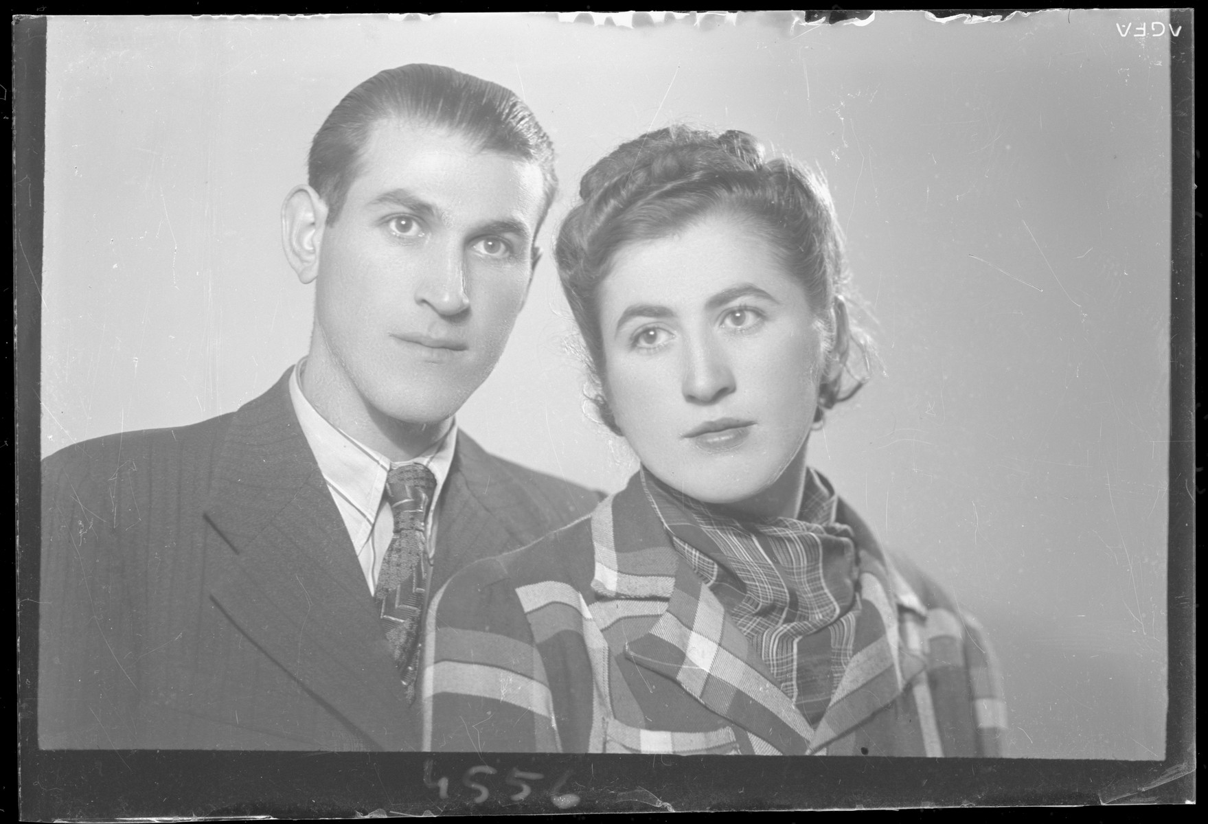 Studio portrait of Sene Markovits and his [girlfriend/wife].