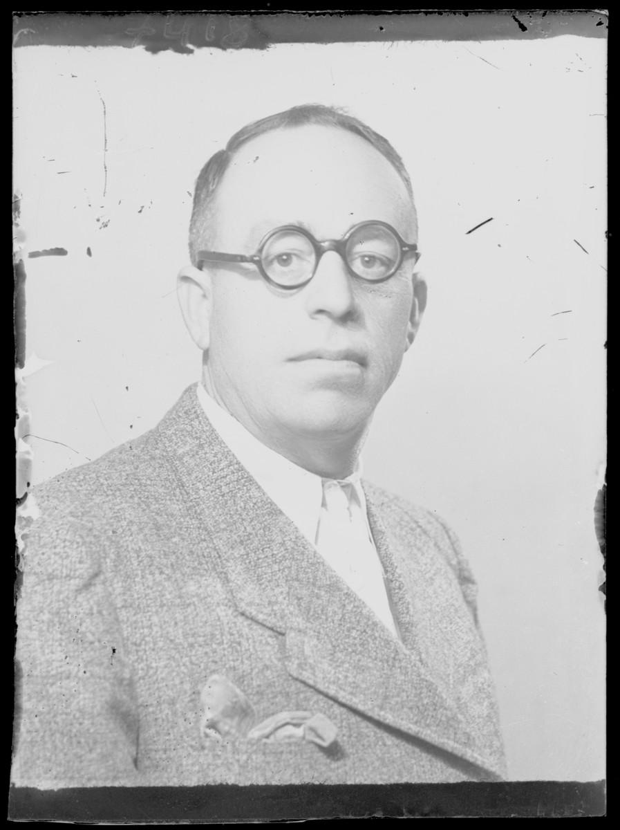 Studio portrait of Kohnreich.  He survived the Holocaust.