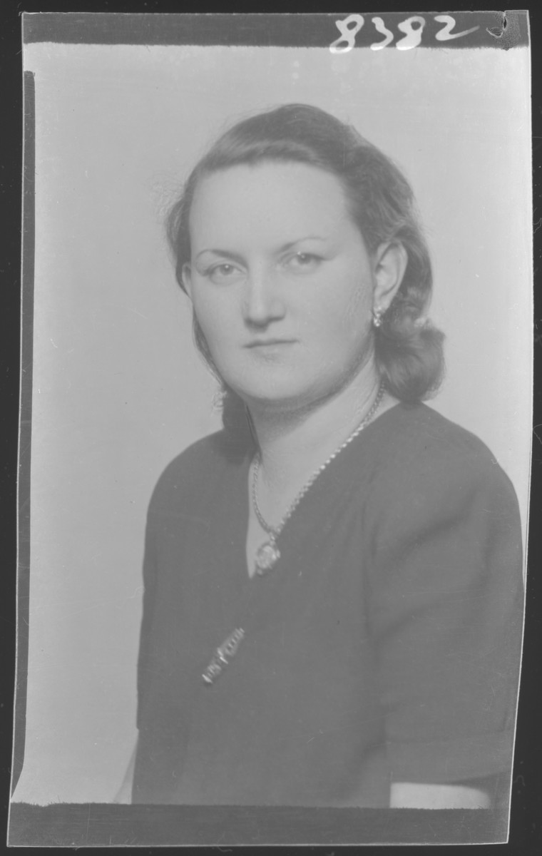 Studio portrait of  Abrahamne [wife of Abraham] Nussbacher.  She perished together with her son.  Her husband Abraham Nussbacher survived and moved to New York after the war.
