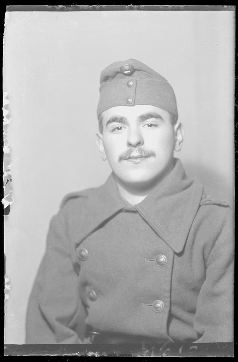 Studio portrait of Israel Panet, in military uniform.