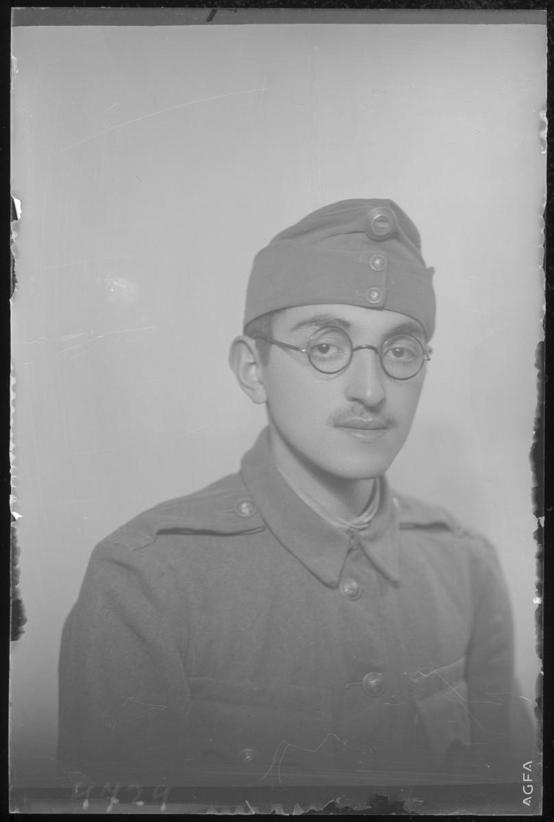 Studio portrait of Morton Lob in a military uniform.