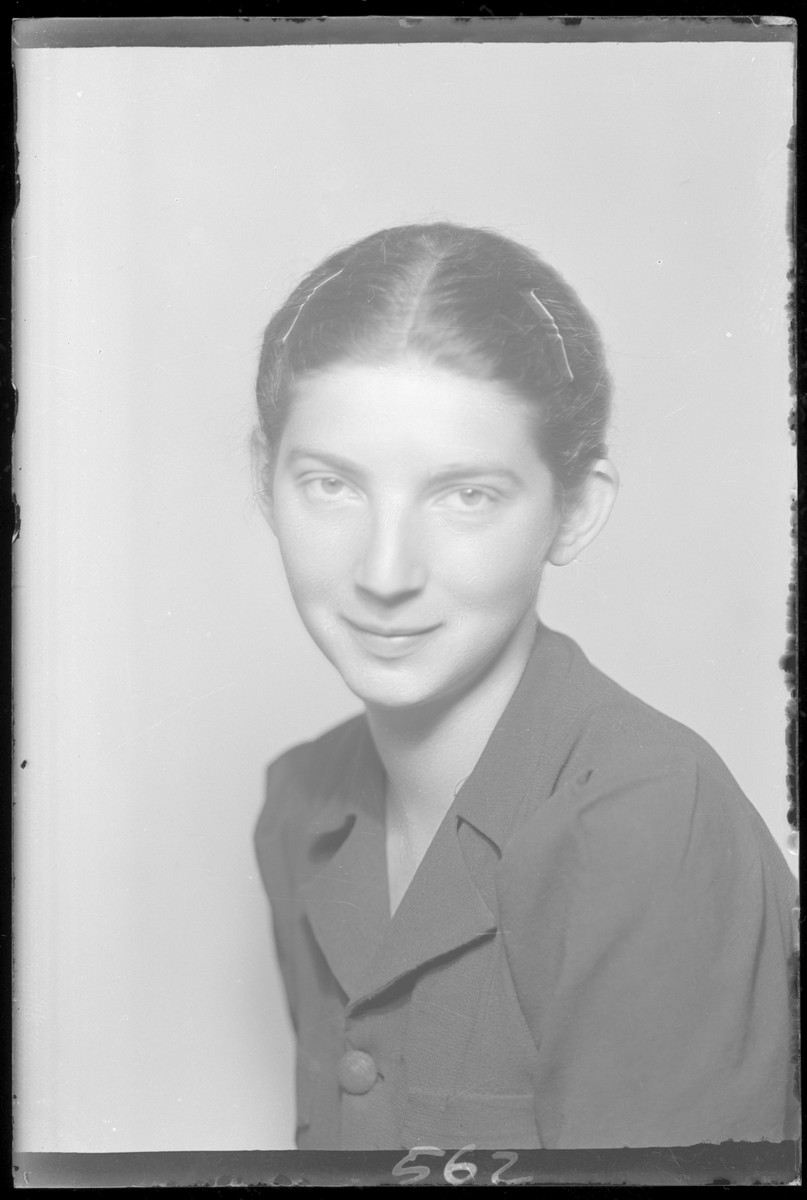 Studio portrait of Babi Nussbacher.  She survived the war having been in incarcerated in several work camps, Riga and was liberated from Neumark Germany.   She immigrated to Israel in 1962 and died in 1994.