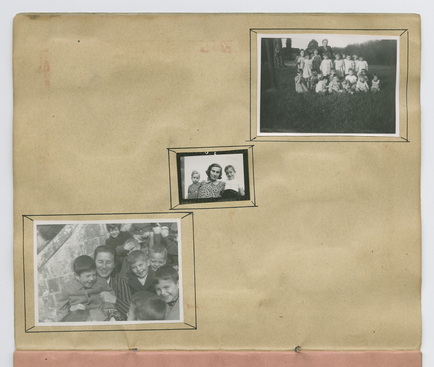 Photographs of children in Chateau-le-Masgelier from a souvenir scrapbook presented to Boris Wolosoff prior to his emigration from France.