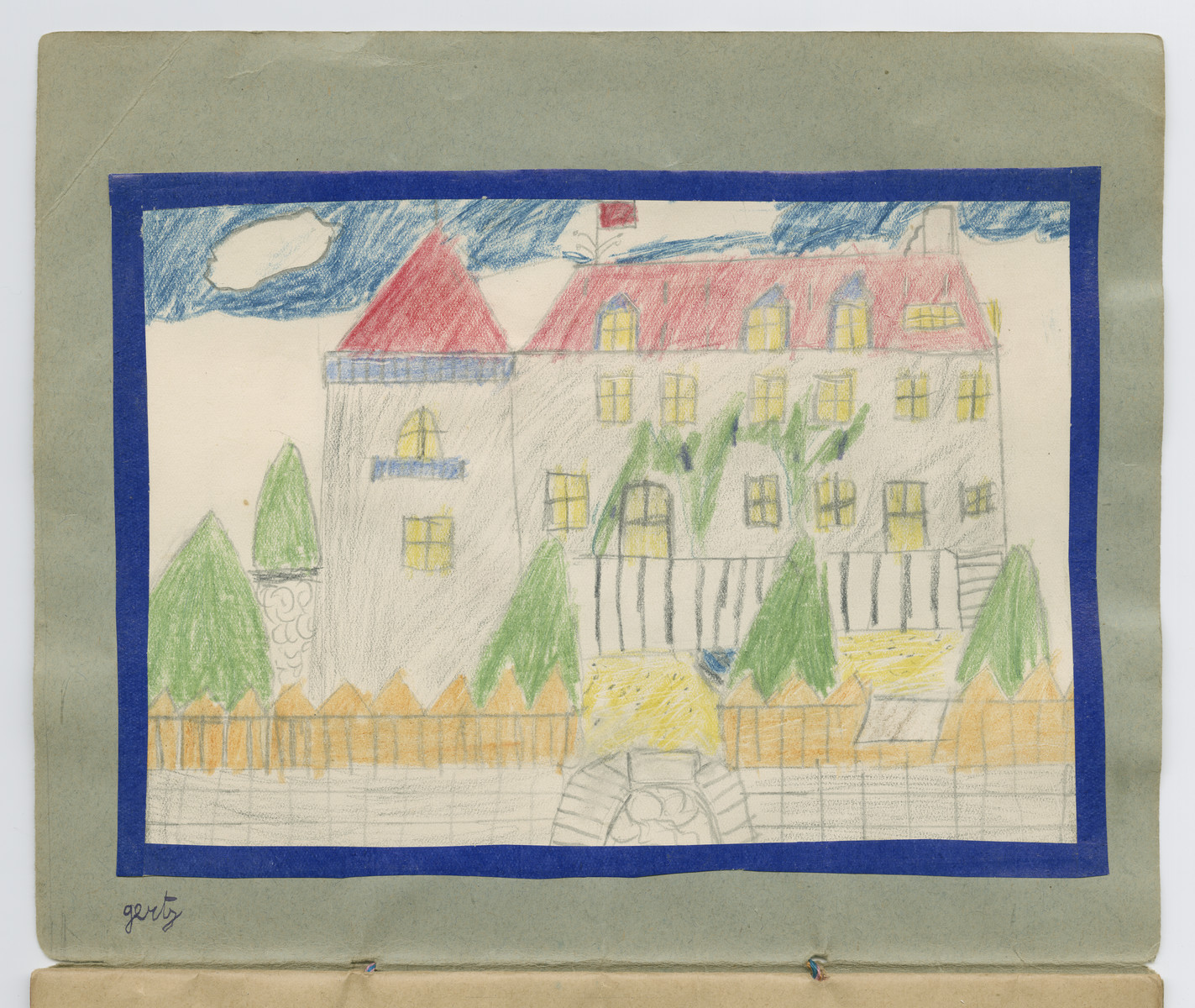 Color drawing of Chateau-le-Masgelier from a souvenir scrapbook presented to Boris Wolosoff prior to his emigration from France.