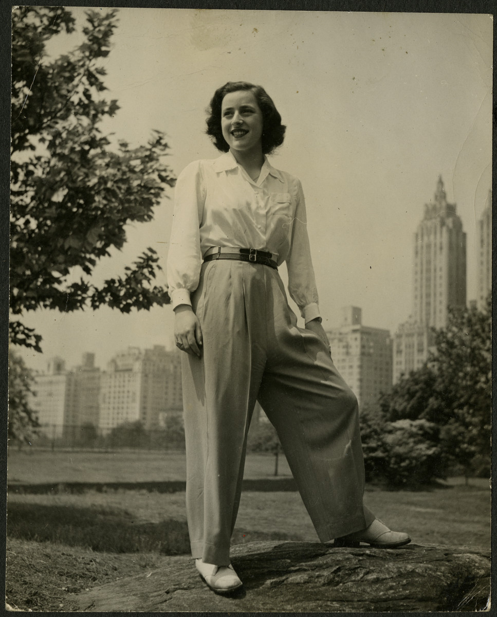 Anita Lamm Gans poses in a park in New York.