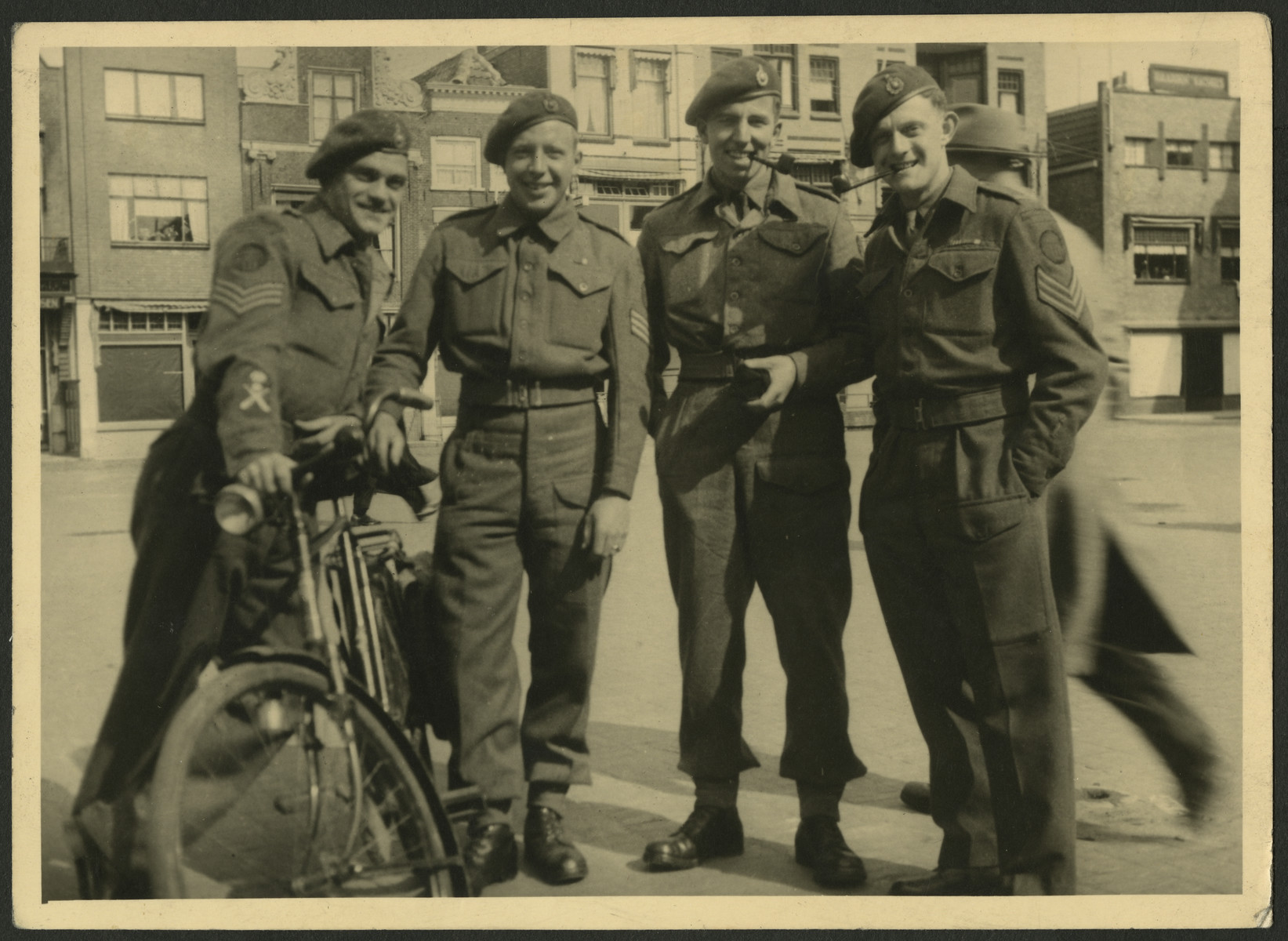 Portrait of four native German speakers in a special unit of the British army.    Manfred Gans is on the right.