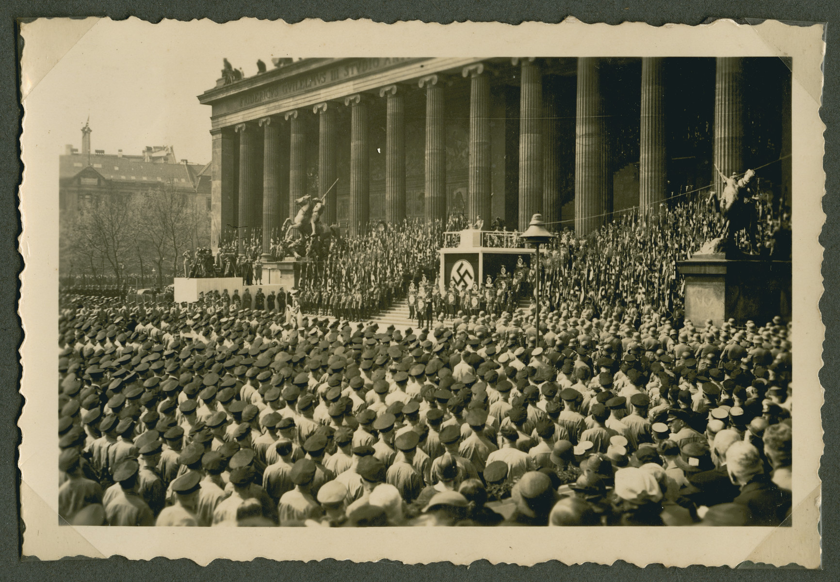 Hitler gives a speech to a large crowd of young Nazis in the Lustgarten in Berlin.