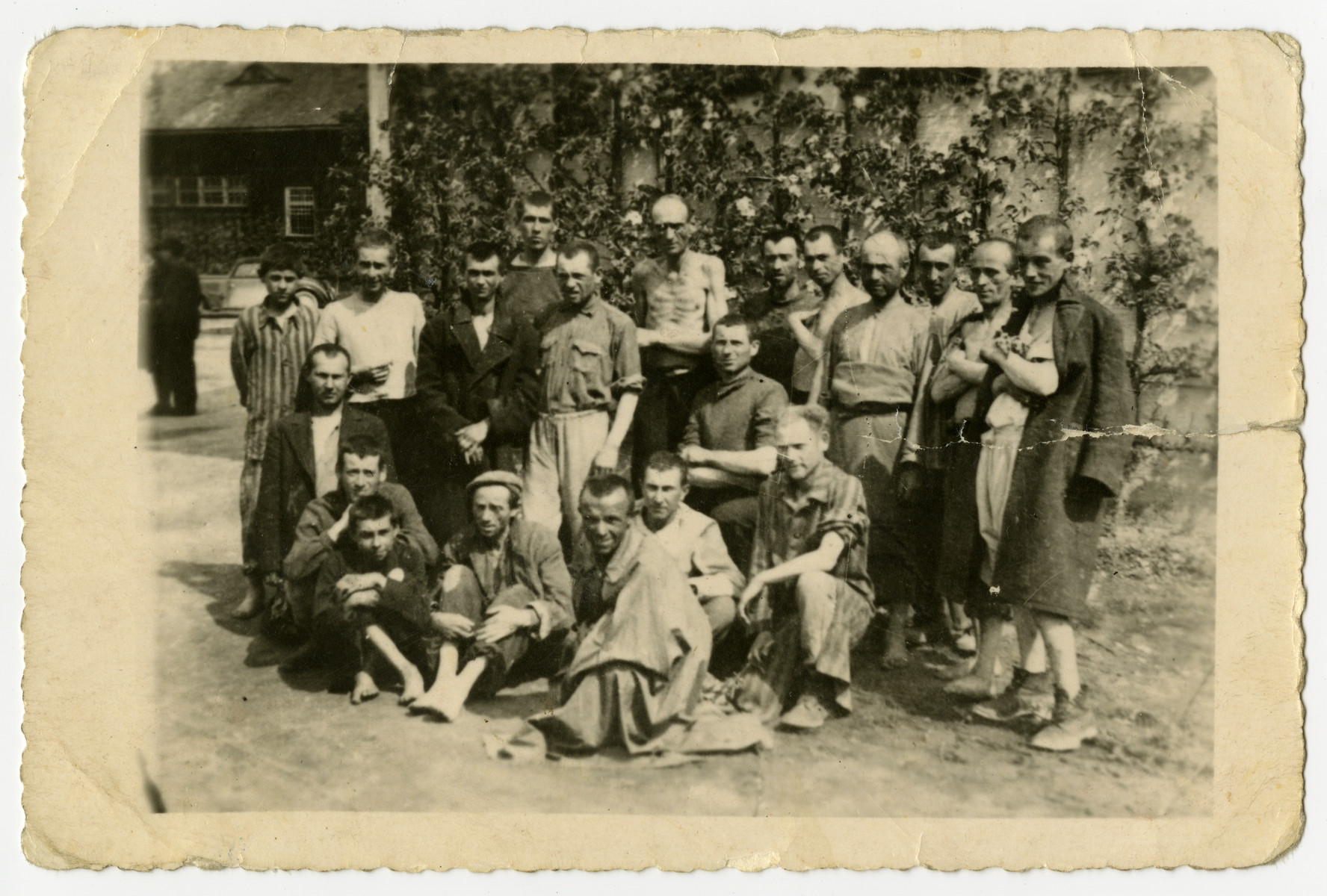 Group portrait of survivors [probably in the Dachau concentration camp.]