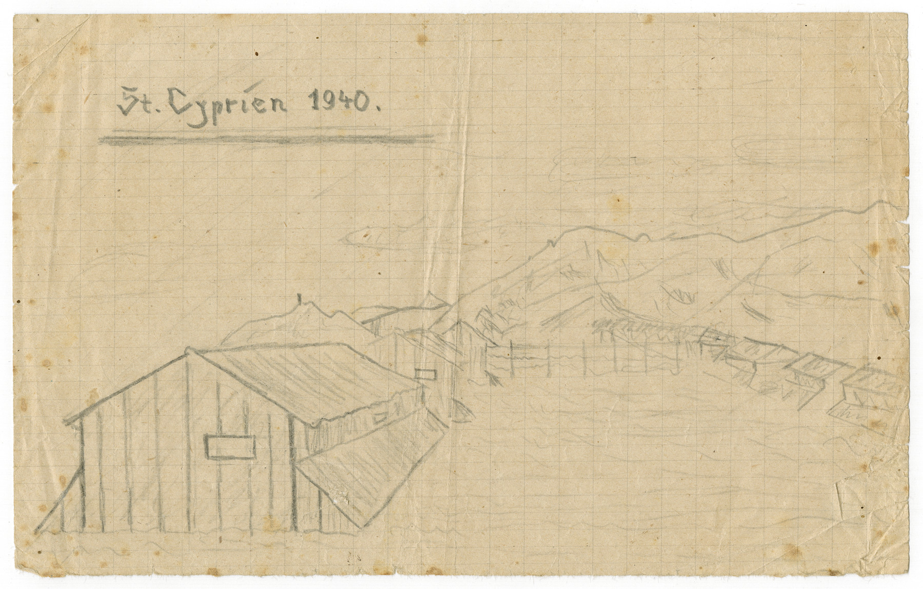 Sketch of a barrack in the Saint Cyprien internment camp drawn by Kurt Feigenbaum after he was deported from Belgium.