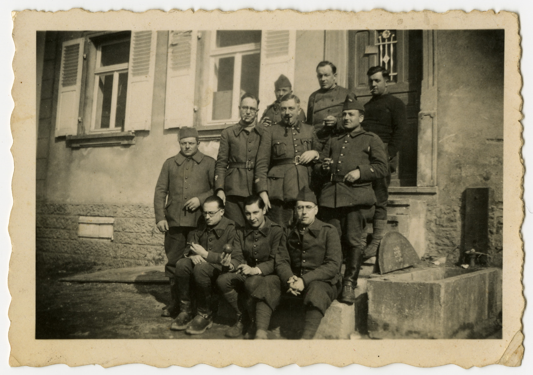 Group portrait of French soldiers.  Included are Alexander Markon, a Jewish immigrant from Lithuania.