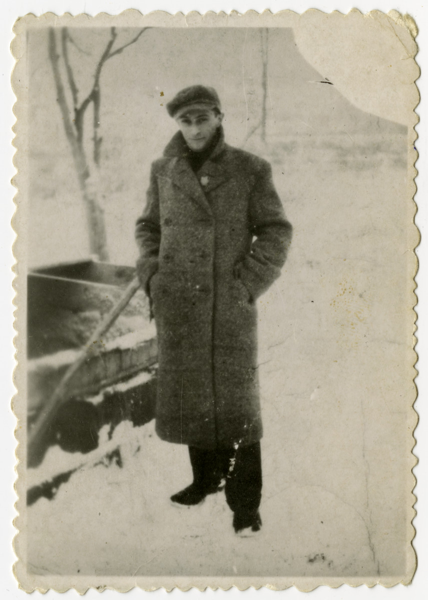 Hersh Burdowski (brother of the donor) poses outside in the snow.