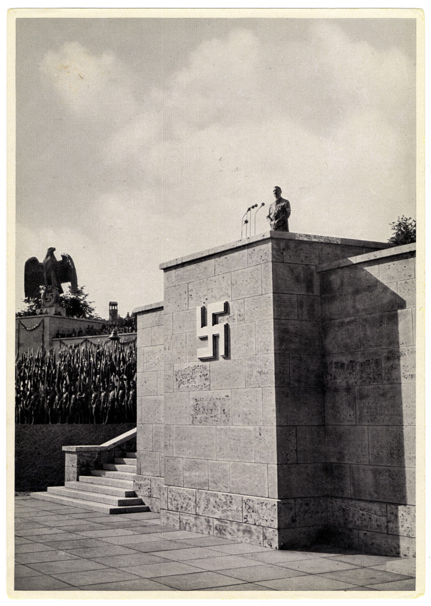 """Caption reads:  """"Rostrum in the Luitpold Arena at the Reich Party Rally Grounds in Nuremberg"""""""