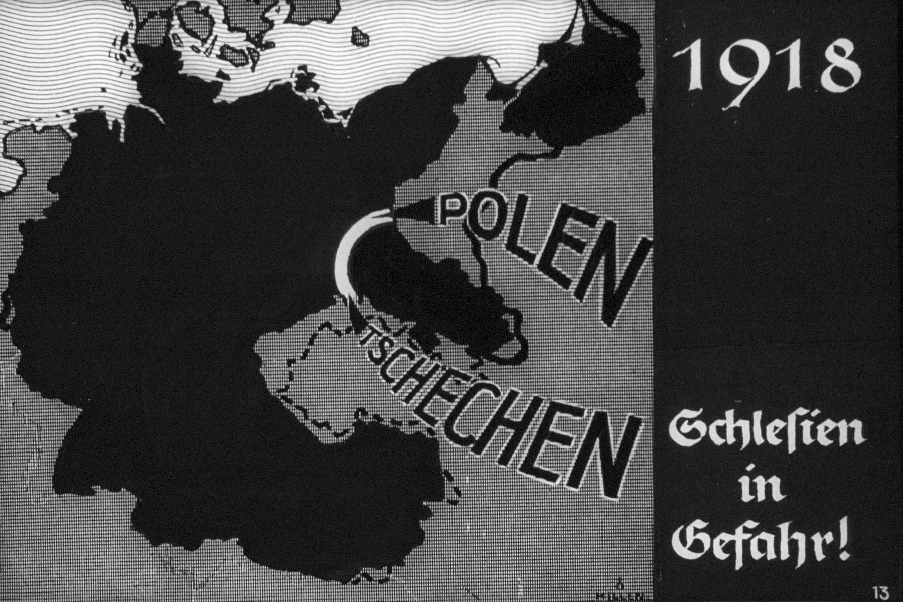 "14th Nazi propaganda slide from Hitler Youth educational material titled ""Border Land Upper Silesia.""  1918 Schlesien in Gefahr! // 1918 Silesia in danger!"