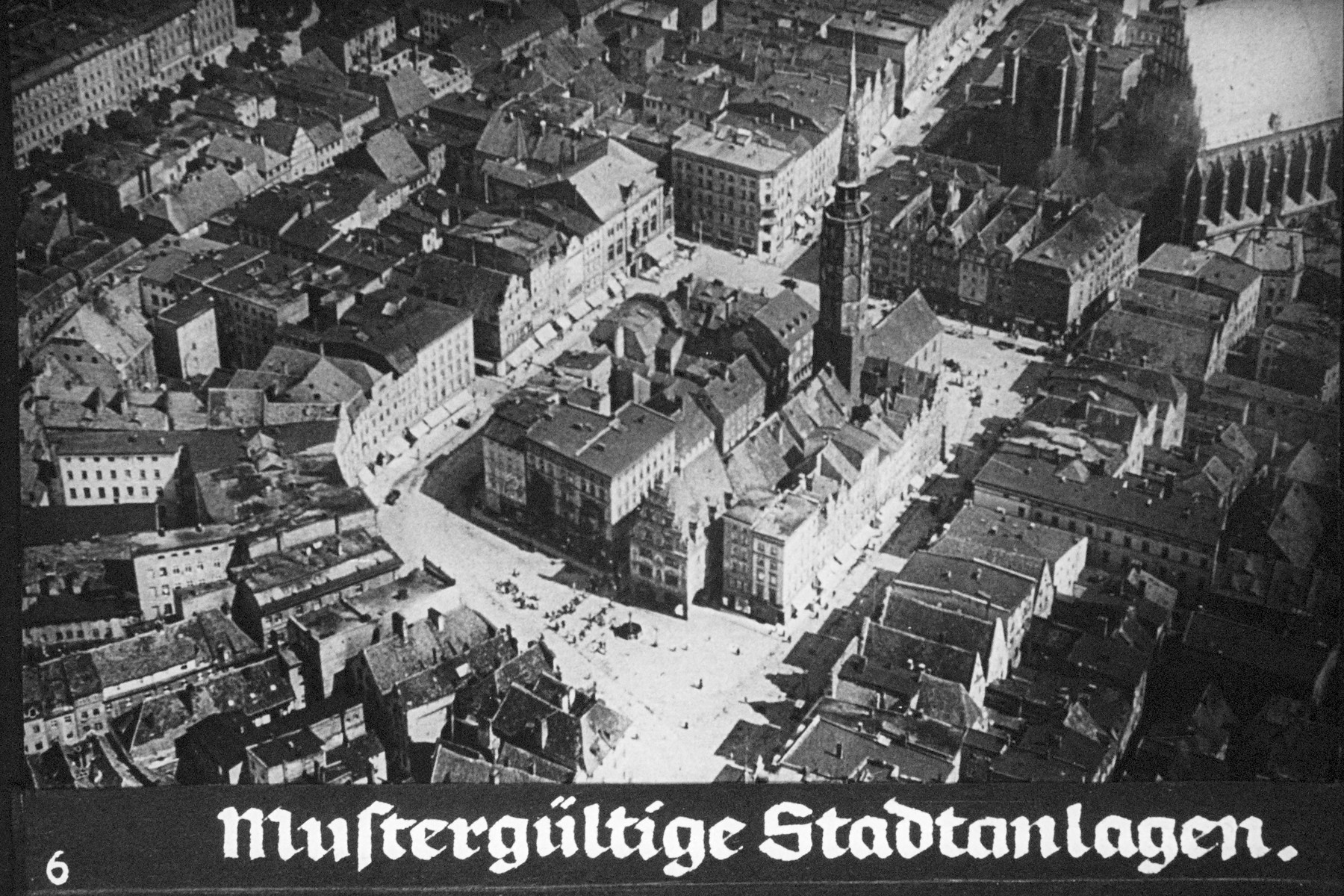 """8th Nazi propaganda slide from Hitler Youth educational material titled """"Border Land Upper Silesia.""""  Mustergültige Stadtanlagen. // Exemplary city facilities."""