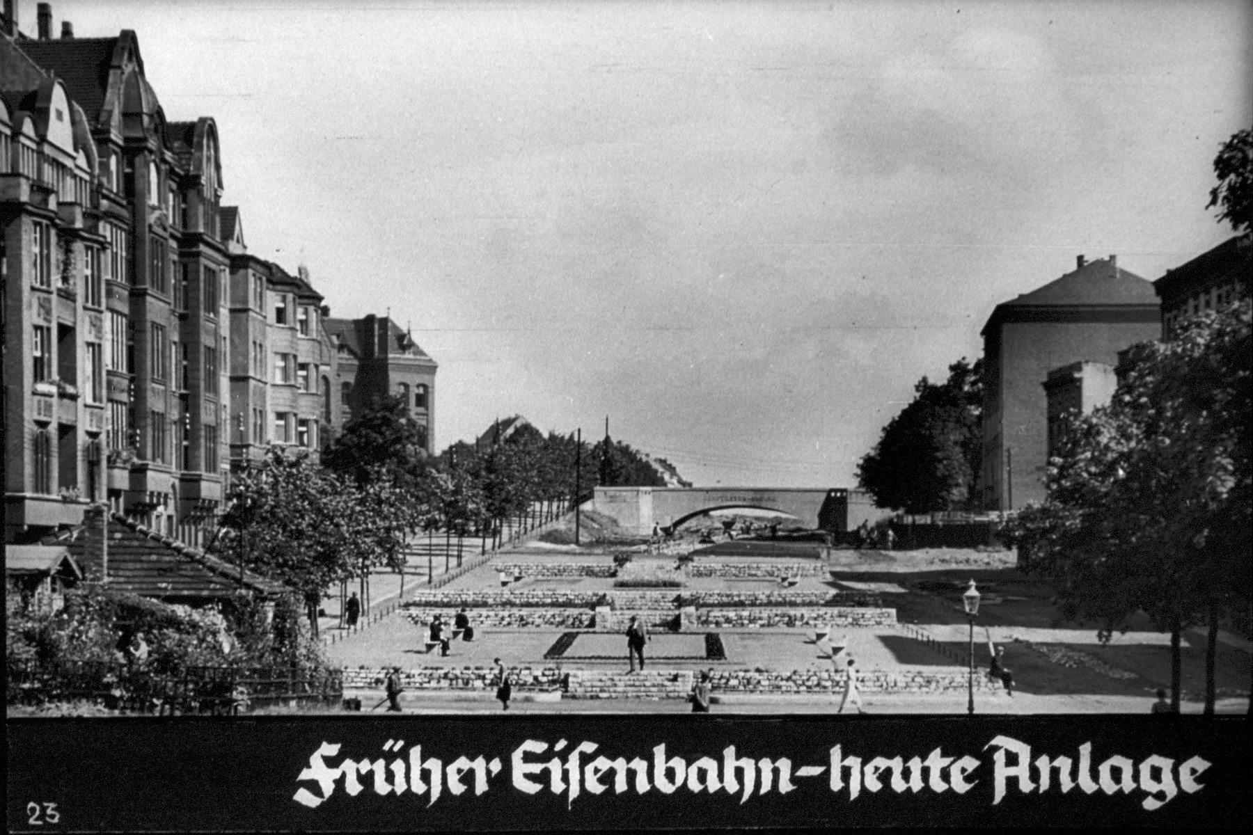 "24th Nazi propaganda slide from Hitler Youth educational material titled ""Border Land Upper Silesia.""  Früher Eisenbahn-heute Anlage // Previously railroad-today plant (factory)"