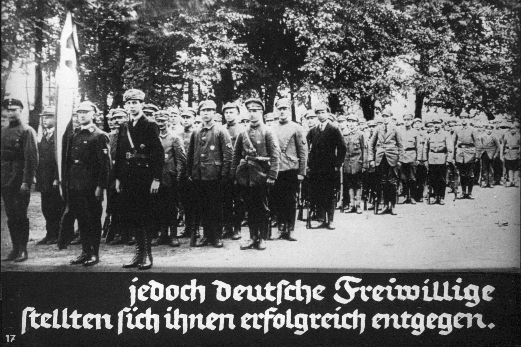 "18th Nazi propaganda slide from Hitler Youth educational material titled ""Border Land Upper Silesia.""  jedoch deutsche Freiwillige  stellten sich ihnen erfolgreich entgegen. // However, German volunteers opposed them successfully."