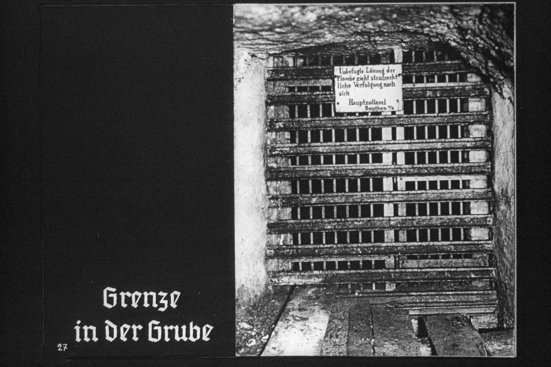 "28th Nazi propaganda slide from Hitler Youth educational material titled ""Border Land Upper Silesia.""  Grenze in der Grube // Border inside the mine"