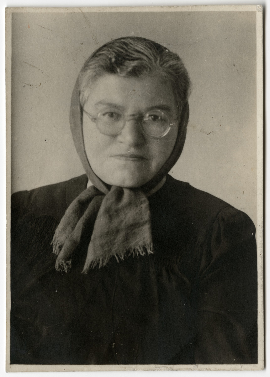 Postwar studio portrait of Miriam Elkes, the widow of Elkhanan Elkes, in Bad Tolz-Wolfratshausen.