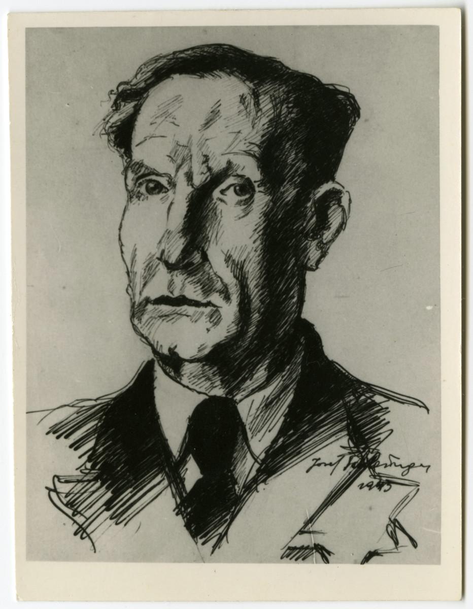 Joef Schlesinger's sketch of Dr. Elkhanan Elkes, head of the Aeltestenradt of the Kovno ghetto.