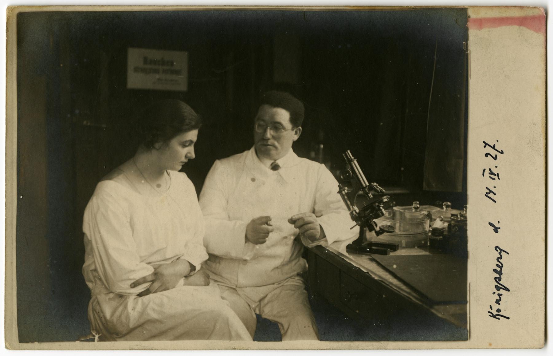 Dr. Hirsch (Tzvi) Elkes (brother of Elkhanan Elkes) works in hs physician's lab in prewar Koenigsberg.