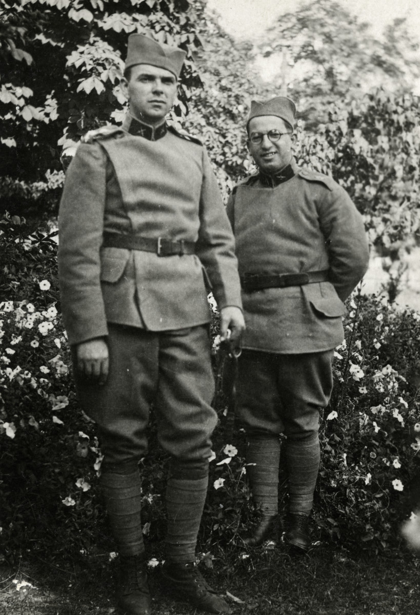 "Moise Cassorla (father of the donor, on right) and another soldier pose in army uniforms.   The man on the left may be ""Pappo"", a friend from Serbia."